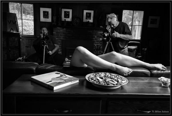 Kim Weston photographing at nude figure workshop by Milan Sabata