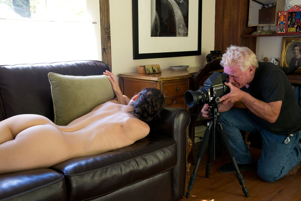 Kim Weston photographing a nude model during a Weston Nude Photography Workshop on Wildcat Hill.