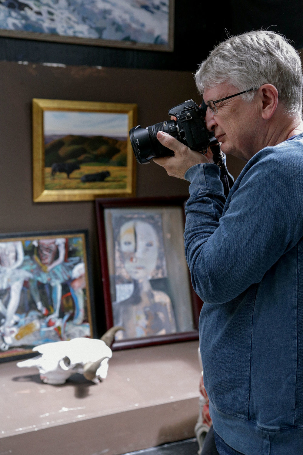 Weston Workshop participant photographs in Kim Weston's studio on Wildcat Hill.