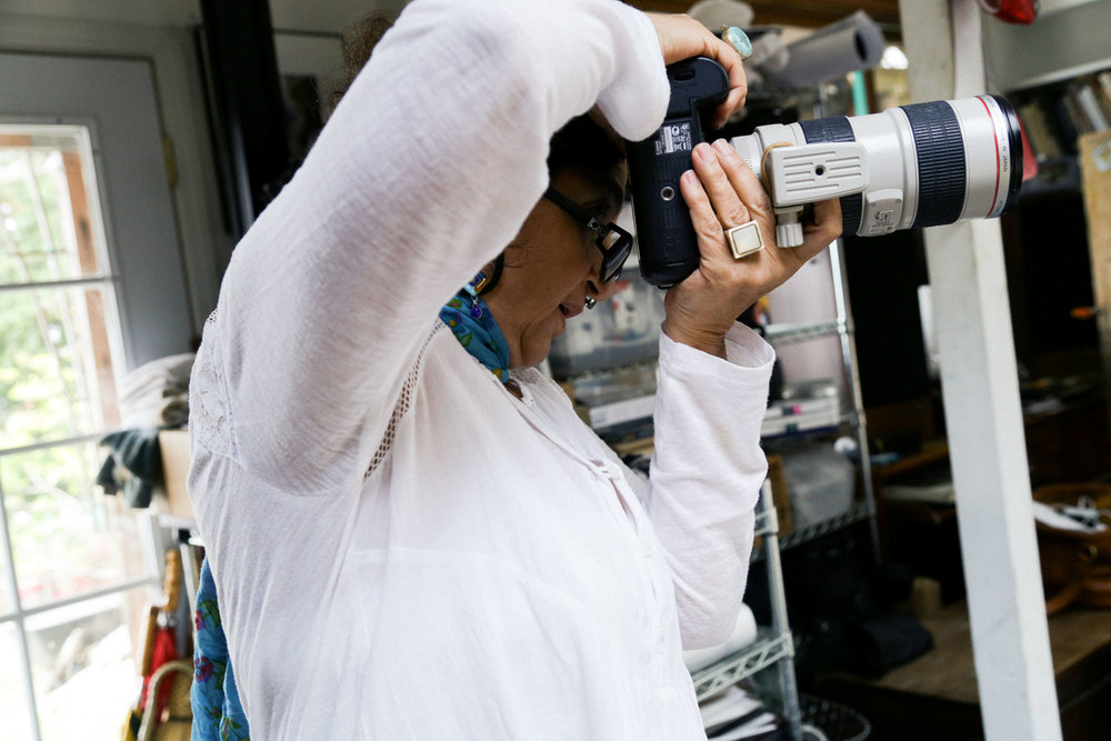 A Weston Photography Workshop participant photographs in Kim Weston's studio on Wildcat Hill.