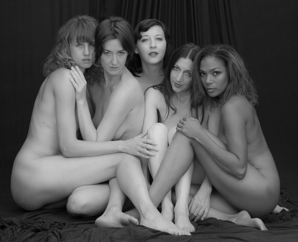 Fine art models (from left) Catherine, Gwen (NYMPH), Larva, Sara, and Merrique pose together for 2016 Desert Figure Workshop participants. Copyright © Lance Patrick - All rights reserved.