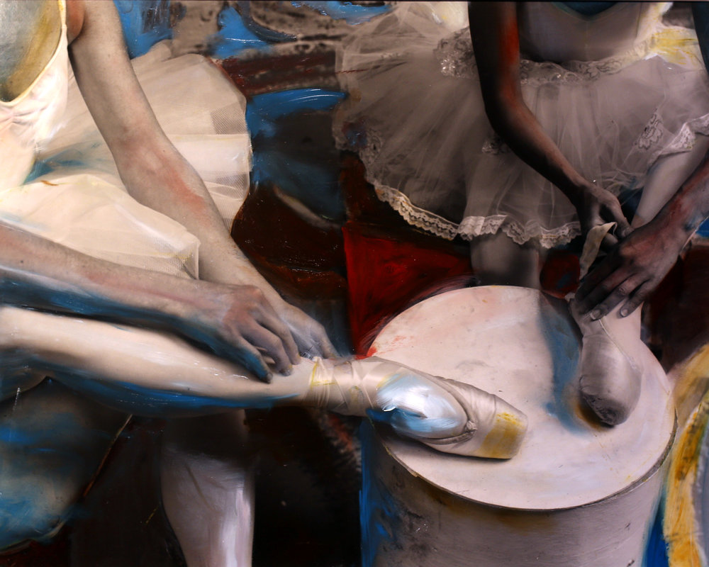 One-of-a-kind painted photograph by Kim Weston inspired by Edgar Degas.  Oils on gelatin silver print.   Copyright © Kim Weston - All rights reserved.