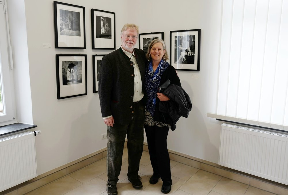 Friedrich Saller and Gina Weston at the opening of the Four Generations of Weston Photography Exhibition in Germany, 2017.