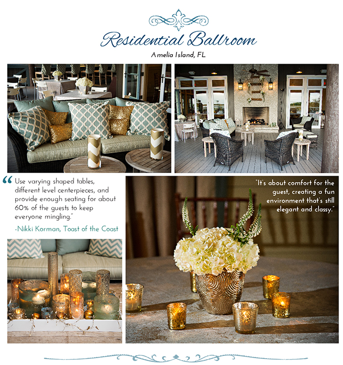 Outdoor wedding on outdoor patio furniture on a porch.