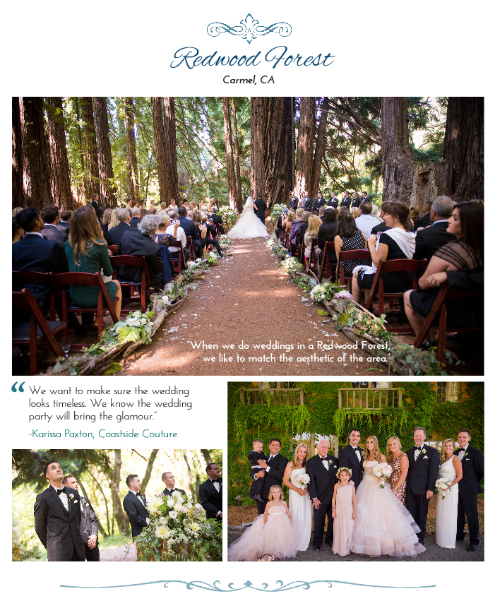 Wedding in a west coast forest with tall trees all around.