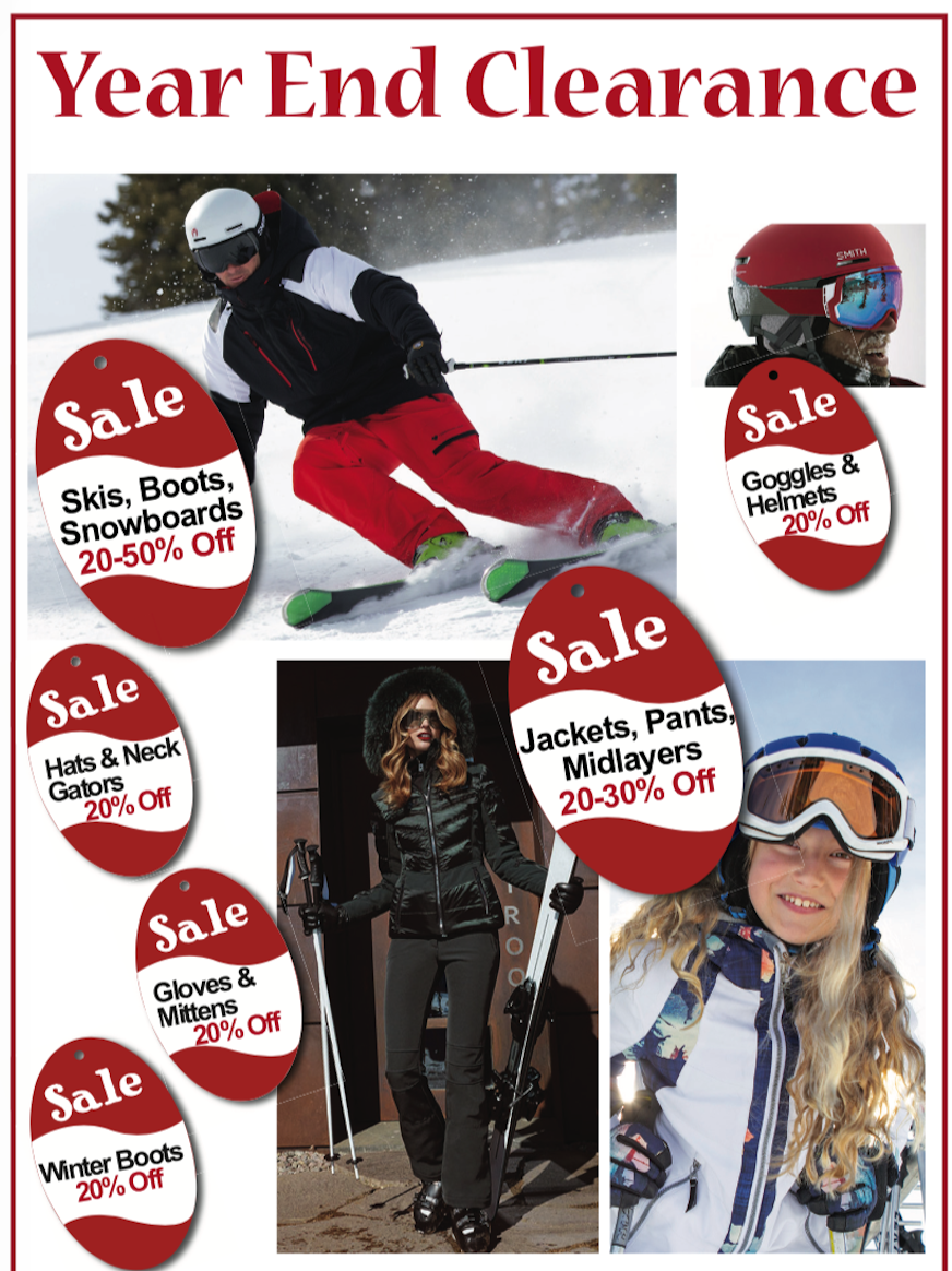 Williams Ski & Patio Winter Clearance Scale - Save Money on Skis, Snowboards, Boots, Clothing & More!