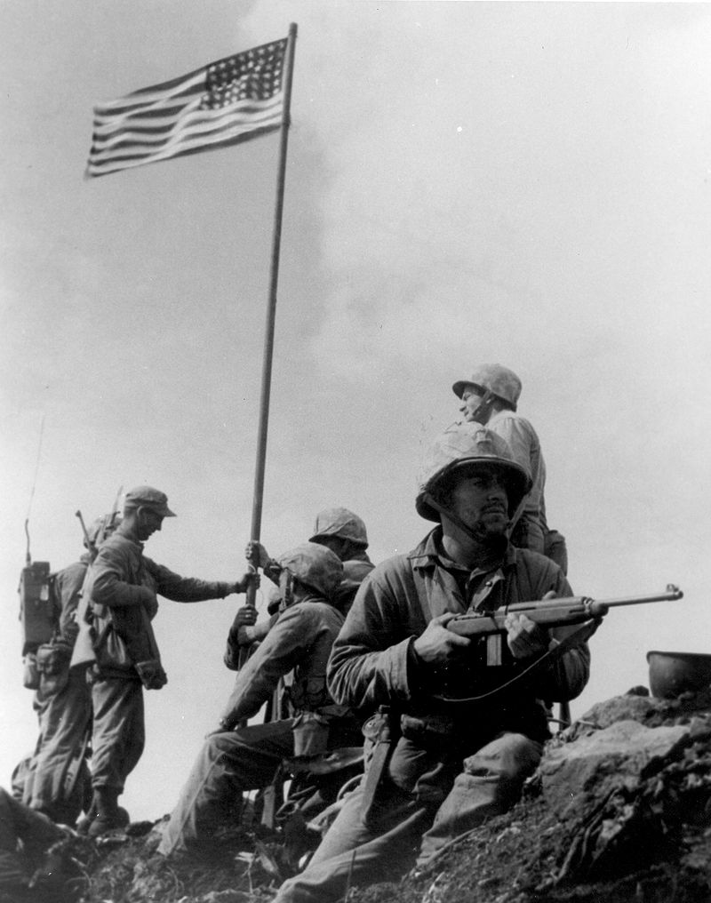 Raising the first flag on Iwo Jima