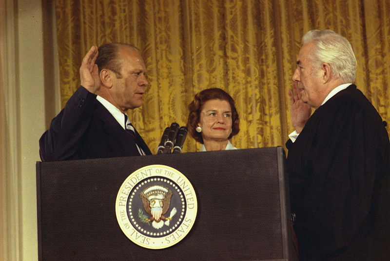 President Gerald Ford is sworn in after President Nixon resigned