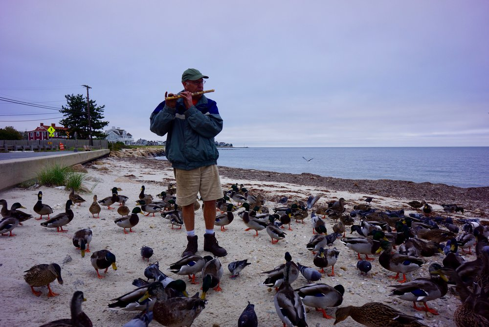 - Mike Martin has been playing flute on Surf Drive beach for years. He's become a fixture for visitors and regulars, probably because he's usually surrounded by ducks. Mike has gotten to know the birds pretty well over time. But his favorite fans still haven't learned how to clap.