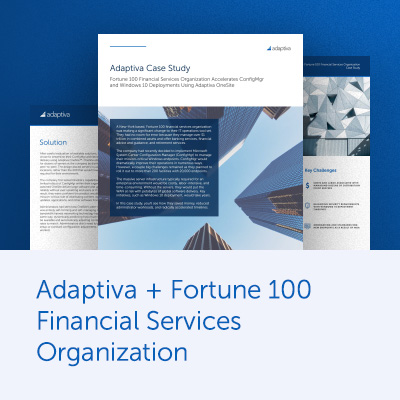 Adaptiva + Fortune 100 Financial Services Organization