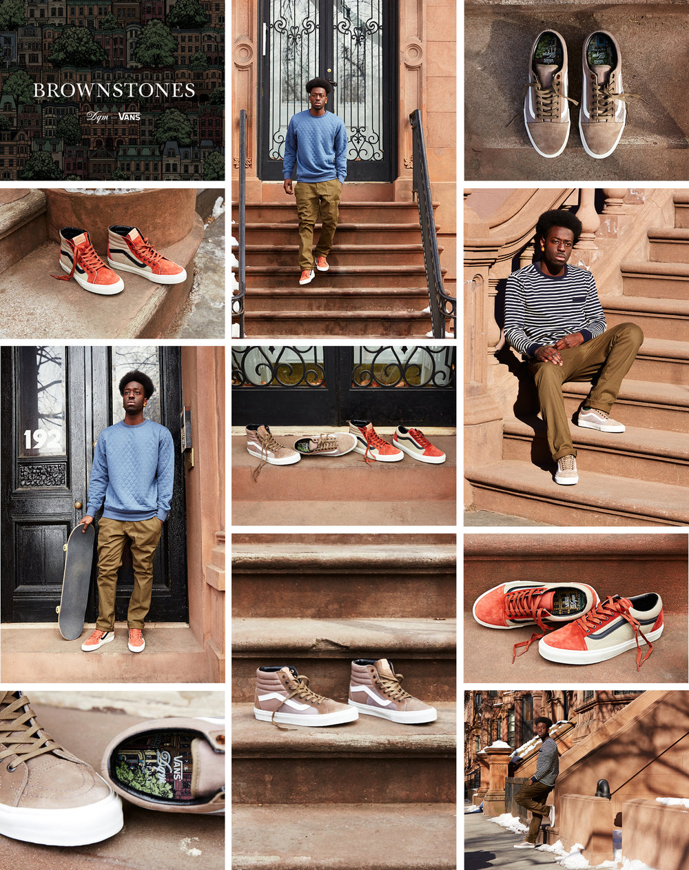 The shoes are inspired by the brownstone row houses of New York and the North East. Drawing from the natural shades of the Jurassic sandstone material, the collection includes four styles: a Sk8-Hi 46 LX and Old Skool LX in colorways of grays and red brick/ brown. Constructed in a combination of premium leather, suede, nubuck and canvas, the shoes feature riveted brass eyelets with single tortoise glass eyelet detail, waxed flat laces, gum outsole and The General's signature navy blue heel tab print. A custom, artist-commissioned illustration is printed on the insoles. Built for the East Coast's inclement weather, the shoes feature water-resistant Scotchgard™ weather protection treatment. Photography by Dominic Neitz in Fort Greene, Brooklyn, New York.