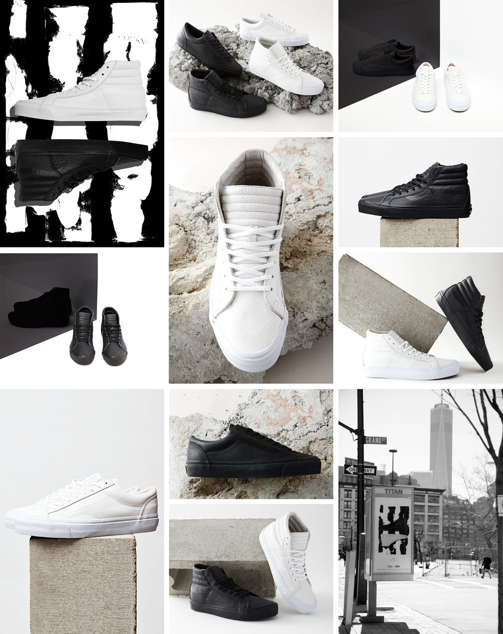 The Halves collection includes an OG SK8-Hi LX and an OG Style 36 LX, both produced in all black and all white premium leather color ways. Made exclusively for DQM, the shoes are inspired by a study in minimalism, and in contrasts and transitions: two parts of one, light and dark, black and white, and the gray areas. The shoes combine a feeling of minimalism, with refined, pared-back styling and a completely monotone palette, with a feeling of luxury, fabricated in soft, super premium full-grain leather and featuring quilted leather tongues and gold foil printing on cork insoles. They have a deconstructed look with minimal branding, simple punched eyelets and high-density printed side-stripes. Photographed by Dominic Neitz in New York.