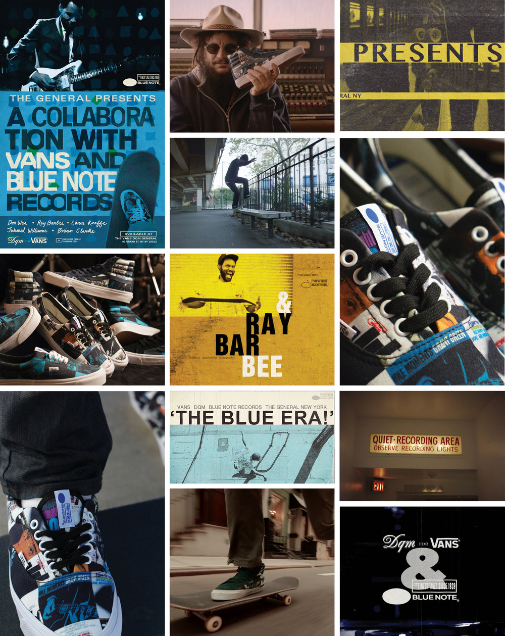 DQM collaborated with Vans to produce a very special project with the iconic Blue Note Records. Releasing in the Spring and Summer of 2015, the project included two separate, consecutive footwear releases accompanied by a film featuring Don Was, the renowned musician/ producer President of Blue Note Records, and the legendary skateboarder and jazz-inspired contemporary musician Ray Barbee. Founded in New York in 1939 by Alfred Lion and Max Margulis, Blue Note Records recently celebrated 75 years recording the world's greatest jazz. Many Blue Note albums, especially from the 1950's and early 1960's, are considered to the be the finest jazz recordings of all time, such that the record label name itself is now synonymous with the seminal American music form. The Blue Note Records project produced by DQM and Vans is inspired by the rhythm and extemporization that exists similarly within music, especially jazz, and skateboarding. Equally characterized by free-form thinking, style and improvisation, the art forms of music and skateboarding share a special connection. Both start with a simple stroke of the guitar, a push on a skateboard, and from there, its flow. The project includes consecutive footwear releases produced exclusively for DQM; an OG Era LX and an OG Sk8-Hi LX style in two colorways, 'The Colors', and 'The Blues'. The shoes are constructed in 6oz canvas yardage printed with a collage featuring cover art from Blue Note's epic catalog; each pair is unique.
