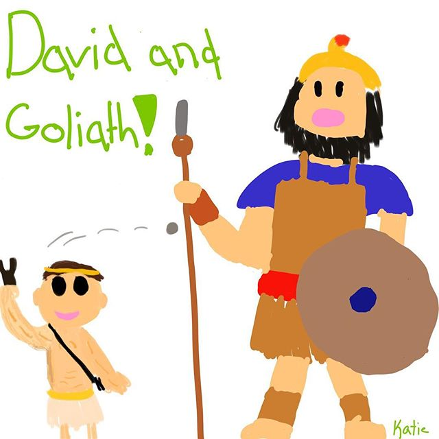 David and Goliath ipad art by Katie Brooks. I love watching my girls express themselves through art! This was drawn on the Procreate app.  I am considering doing some sort of online tutorial if there is interest in learning how to use the app.  Let me know in the comments if it would interest you.  It's very user friendly and lots of fun!
