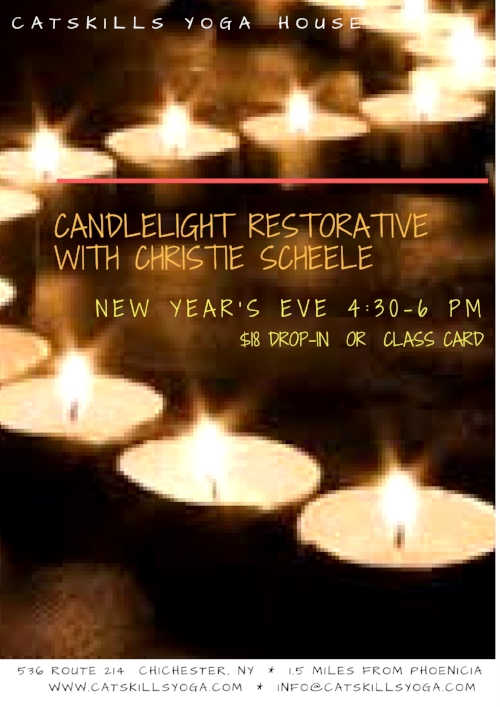 All levels are welcome for this deeply nourishing, quiet, inward-looking class.  Some gentle breath-centered movement coupled with long restorative holds in our peaceful candle-lit studio will usher you into a meaningful evening of celebration and intention-setting.