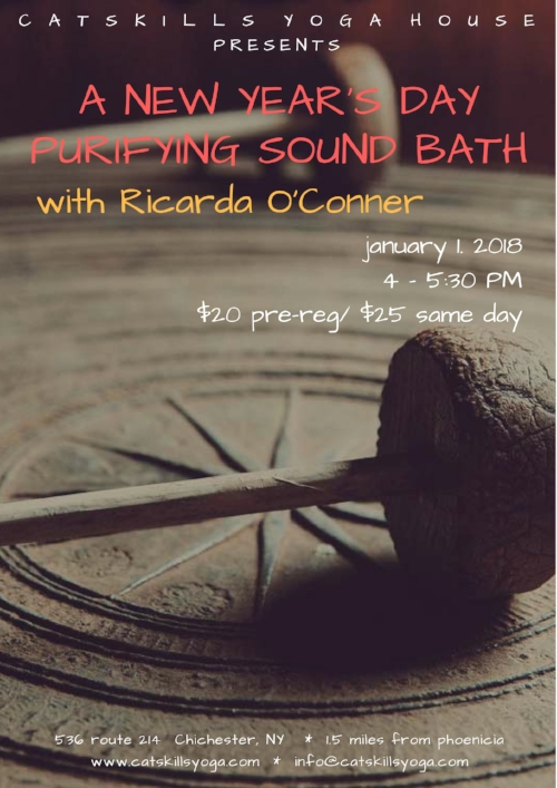 Start your New Year off with a deeply cleansing bath of sound.  Healer, teacher, and musician Ricarda O'Conner will guide you on a journey to reset and recalibrate your nervous system... something we could all use after the intensity of the holidays and as we dive into a fresh year! A gong bath meditation restores the harmonic field of the body. The sound waves emanating from the gongs come in through your ears, but also move through your body, gently guiding you into deep relaxation. The gongs recalibrate and rebalance the body, mind and spirit, raising your vibration and returning you to your essential resonance.  For this event you will lie down on a yoga mat, close your eyes, and simply let the sound wash over you. Please bring a yoga mat and a pillow and/or a blanket and eye covering if you wish. The more comfortable your body can be, the more beneficial the experience. For more about Ricarda, please see  www.ricardaoconner.com.