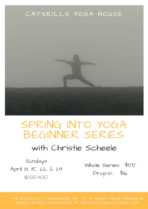 Have you  been curious about the practice of yoga but not sure where to start? Are you managing injuries, rehabbing after surgery, or getting used to an aging body that can't quite do what it used to?  This series is for you! Join yoga teacher Christie Scheele as she introduces students to the basic physical elements of a yoga practice: basic standing and sitting poses, some inversions and, breathing practices.  While drop-ins are welcome, registration for all four sessions is recommended so that students build confidence and sequential knowledge that will allow them to jump into basic and open level classes.