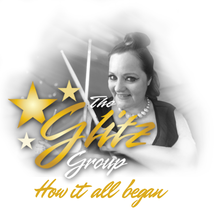 Glitz Group Logo and Mairi Newberry Drums Image