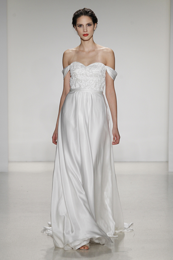 Giovanna- Silk satin faced chiffon aline with detachable draped sleeves and beaded bodice