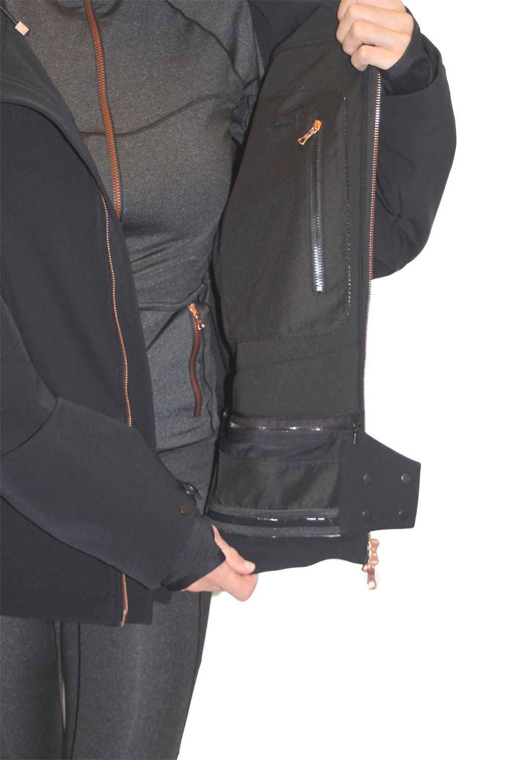 Interior view with chest pocket and removable storm gater on waist