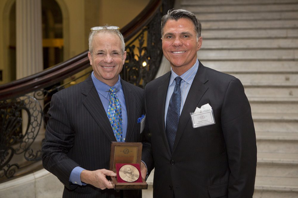 Chapter President John Margolis, Bulfinch Award winner Gerald Pomeroy