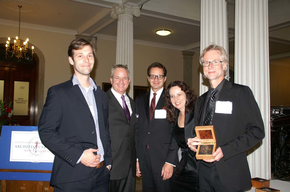 Thomas Race, Chapter President John Margolis, Chapter Vice President Sheldon Kostelecky, Board member Susan Close, Bulfinch Award winner Jeff Heyne of Dell Mitchell Architects