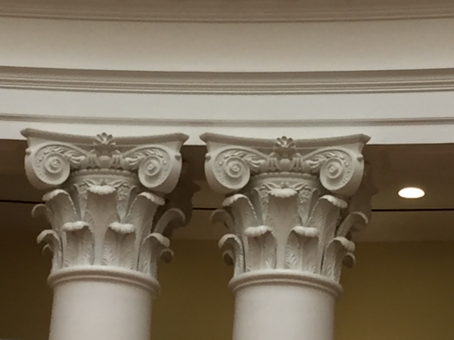 Historic19th century photographs were used to re-create new CNC-carved mahogany Corinthian capitals, each with 57 separate pieces.