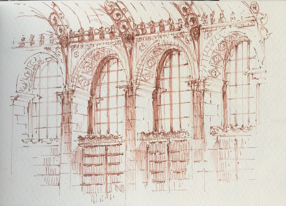 "Sketch - Leslie-jon Vickory of Hamady Architects ""Bibliotheque Sainte Genevieve #2"""