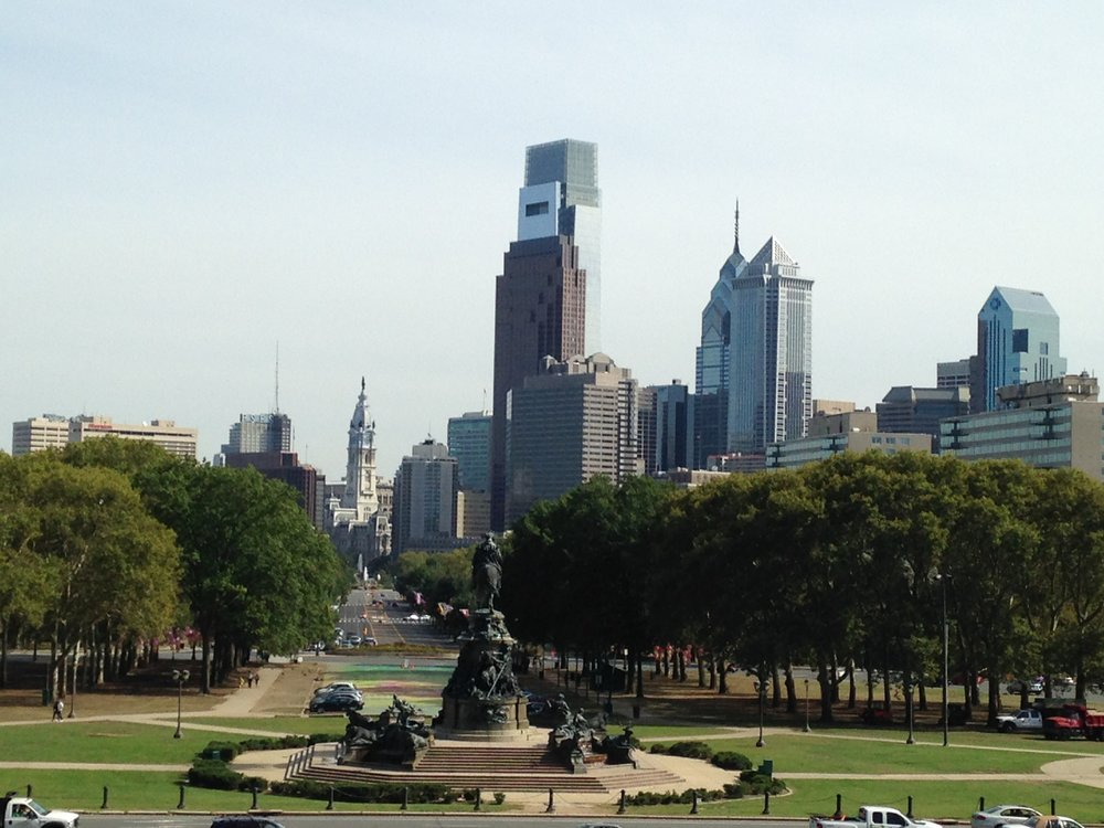 Philly skyline, as seen from the Rocky Steps at the Museum of Art.