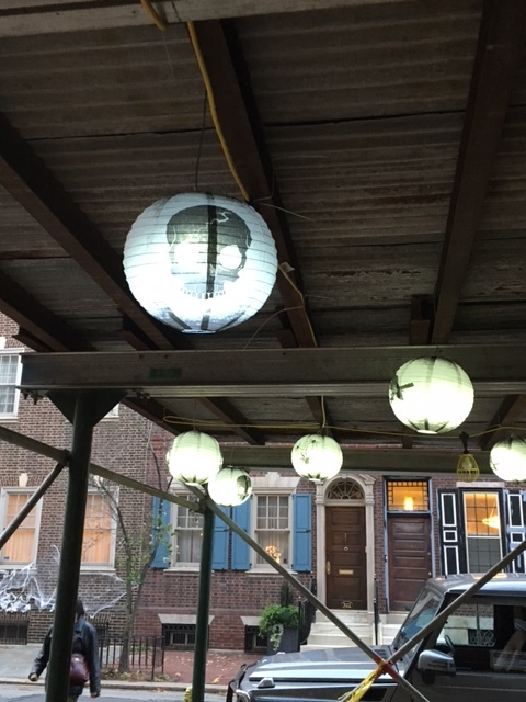 Even the builders joined in the fun with these spooky lanterns strung up from the scaffolding of a renovation project