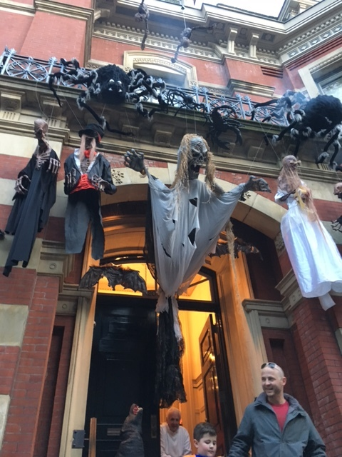 Ghouls and gremlins strung from several storeys high