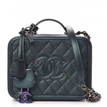 Chanel Iridescent Caviar Quilted Medium Filigree Vanity Case