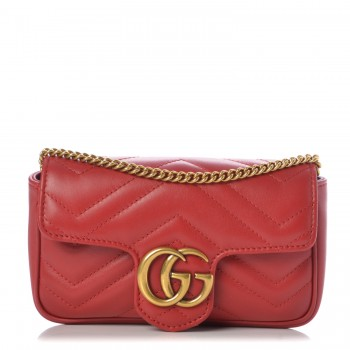 Gucci Matelasse Super Mini GG Marmont Hibiscus Red