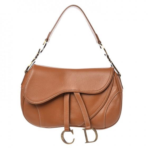 CHRISTIAN DIOR Calfskin Double Saddle Bag Brown