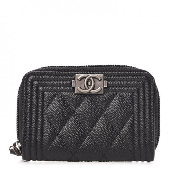 CHANEL Caviar Quilted Boy Zip Around Coin Purse Wallet Black