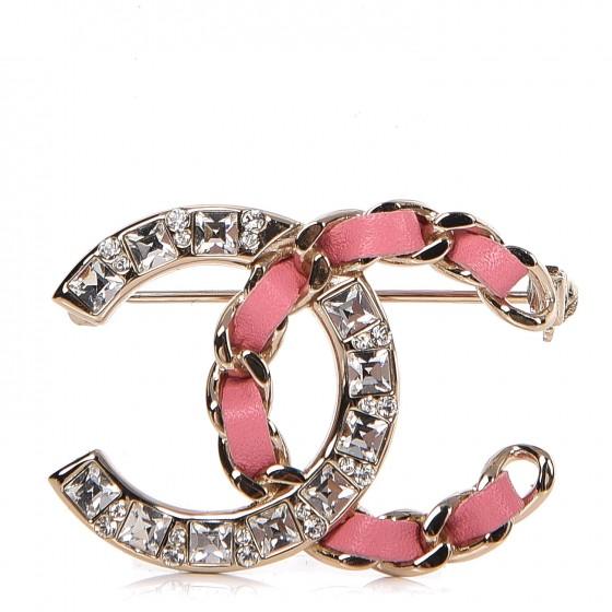CHANEL Lambskin Crystal Chain CC Brooch Pink Gold