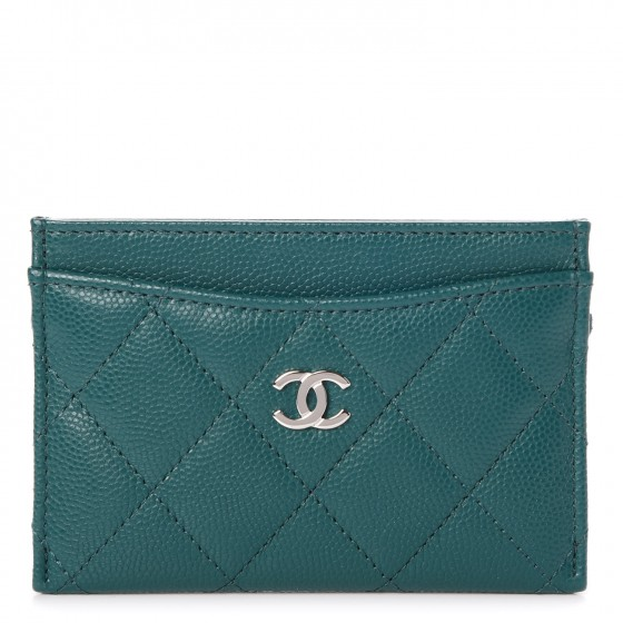 CHANEL Caviar Quilted Card Holder Dark Turquoise