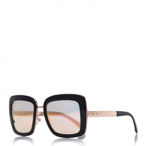 CHANEL Metal Square Spring Sunglasses 5369 Black Pink Gold
