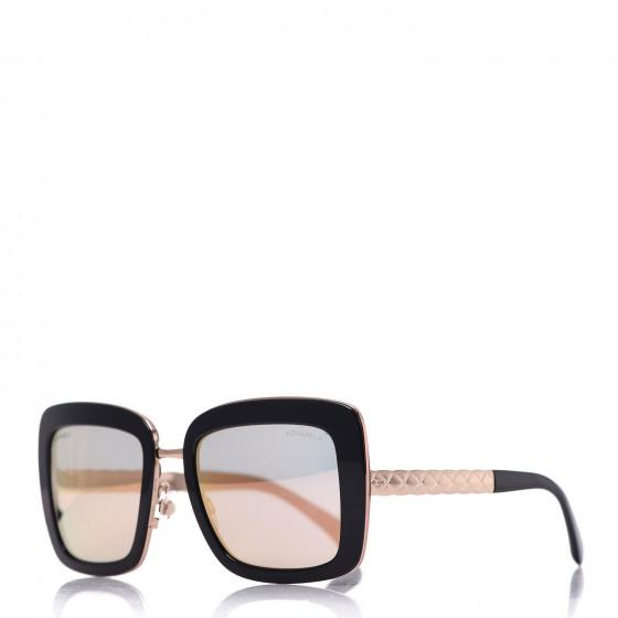 CHANEL Metal Square Spring Sunglasses 5369 Black Pink Gold
