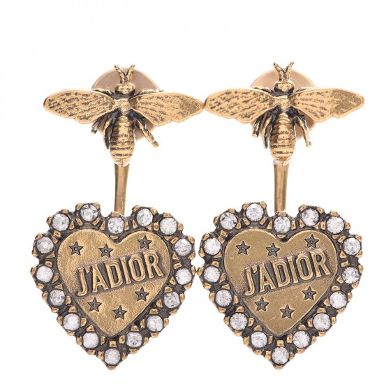 CHRISTIAN DIOR Metal Bee J'Adior Earrings Aged Gold
