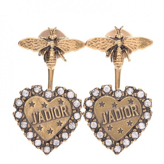 CHRISTIAN DIOR Metal Bee J'Adior Earrings Aged Gold