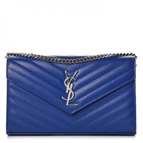 SAINT LAURENT Grain De Poudre Matelasse Monogram Envelope Chain Wallet Royal Blue