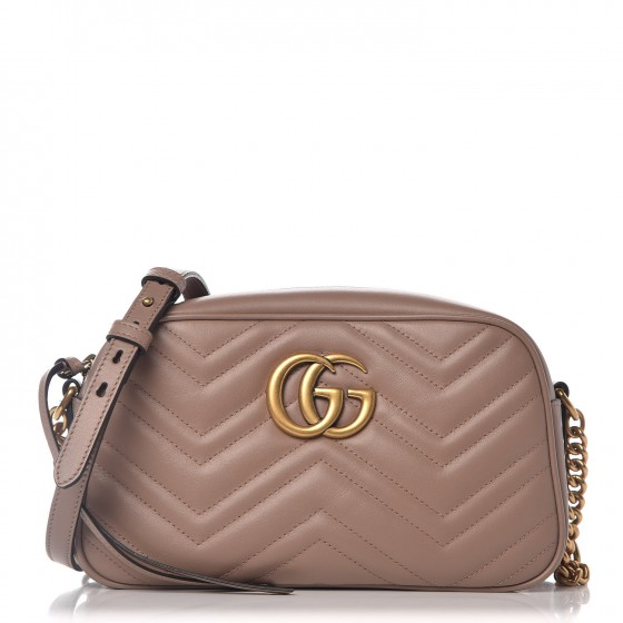 GUCCI Calfskin Matelasse Small GG Marmont Bag Taupe