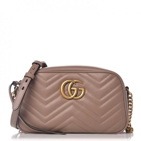 GUCCI Calfskin Matelasse Small GG Marmont Bag Taupe