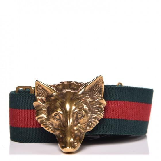 GUCCI Web Wolf Belt 70 29 Green Red