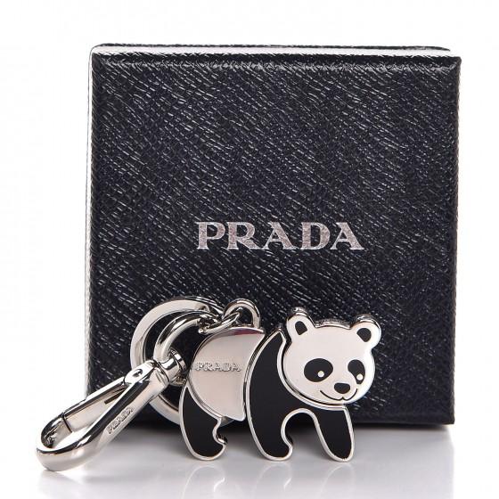PRADA Metal Logo Panda Keychain
