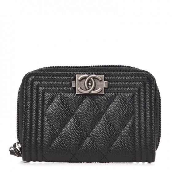 Chanel Caviar Leather - Modern, elegant, brings a new edge for classic quilted Chanel styleExtremely durable and scratch-proofStructured but lightweightShown here in the Quilted Boy Wallet