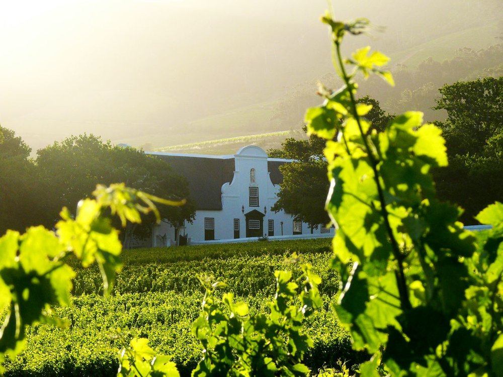 Groot Constantia Manor House at sunset.