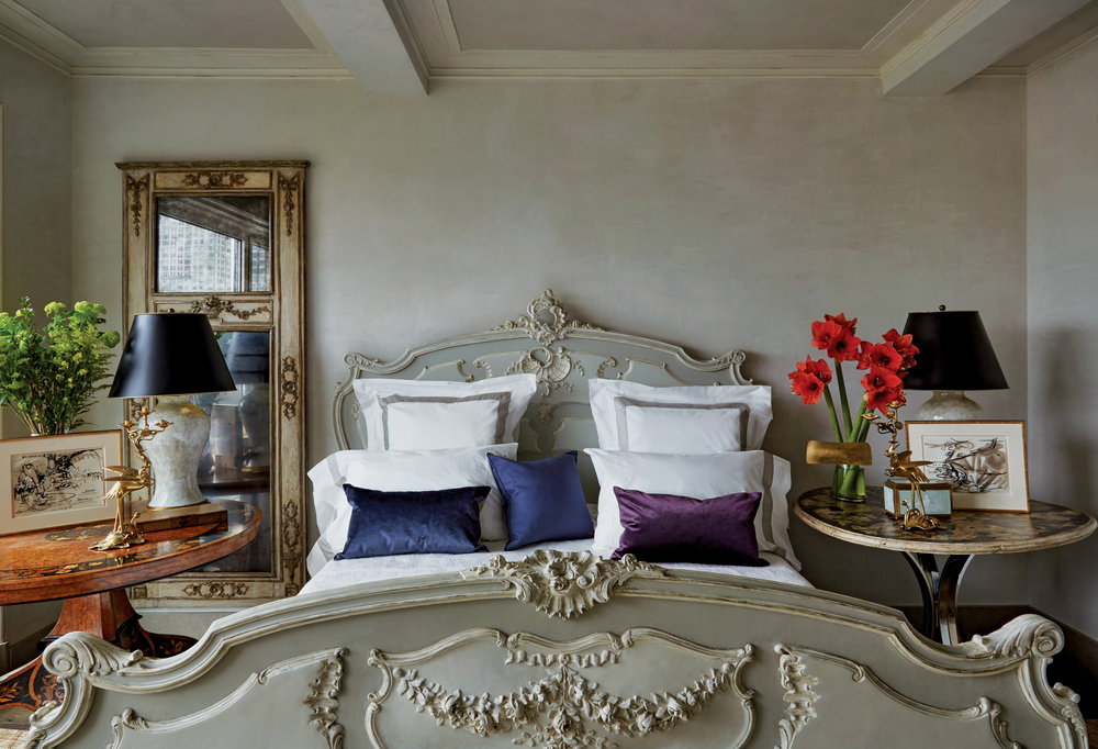 beautiful parisian bedroom in A manhattan highrise