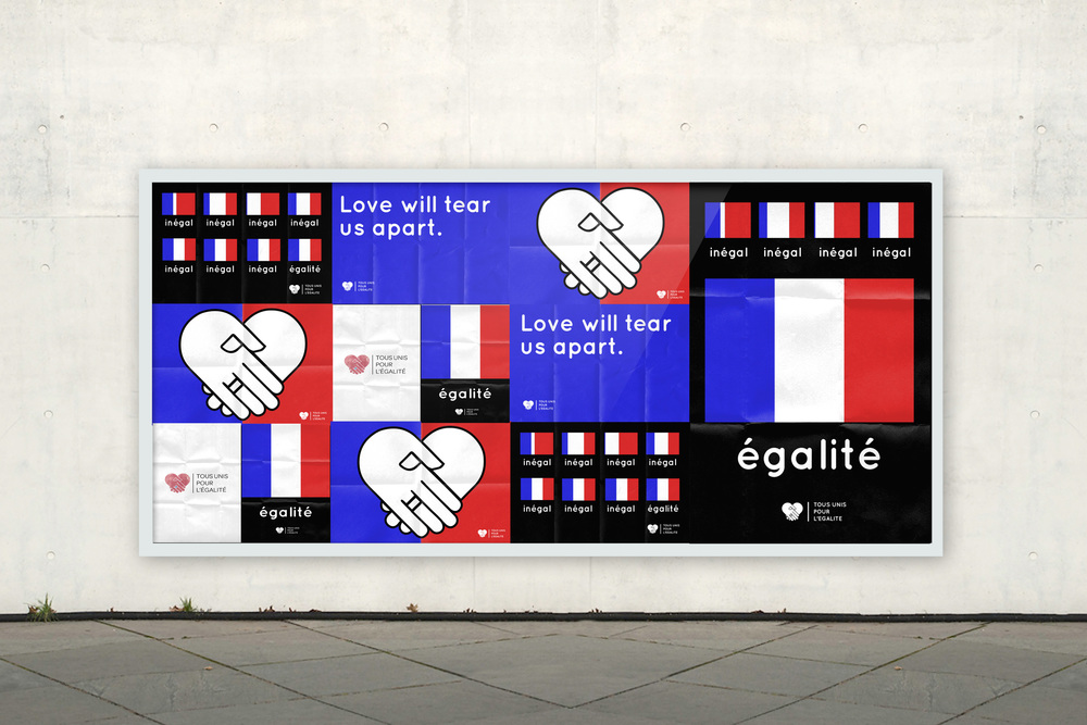 "A few concepts to be used in the anti same sex marriage demonstration.  Posters with the slogan ""Love will tear us apart"", primarily symbolised by the expectation that these would most likely be torn down during the demonstration Egalité used the French flag to visually represent the need for marriage equality with its three equal sized sections."